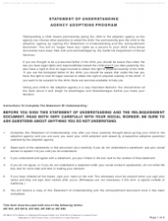Form AD 885A Statement of Understanding Agency Adoptions Program - Mother or a Biological/Presumed Father of a Child Who Is Detained, a Juvenile Court Dependent in out-Of-Home Care, or the Ward of a Legal Guardian - California