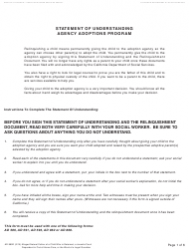 Form AD 885D Statement of Understanding Agency Adoptions Program - Alleged Natural Father of a Child Who Is Detained, a Juvenile Court Dependent in out-Of-Home Care, or the Ward of a Legal Guardian - California