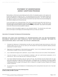 Form AD 899 Statement of Understanding - Mother or a Presumed Father of the Indian Child Who Is Not Detained, a Juvenile Court Dependent in out-Of-Home Care, or a Ward of a Legal Guardian - Agency Adoptions Program - California