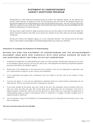 Form AD 899C Statement of Understanding Agency Adoptions Program - Alleged Natural Father of an Indian Child Who Is Not Detained, a Juvenile Court Dependent in out-Of-Home Care, or the Ward of a Legal Guardian - California
