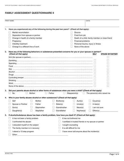 Form AD918  Printable Pdf