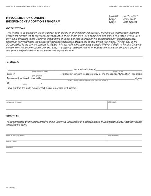 Form AD928  Printable Pdf
