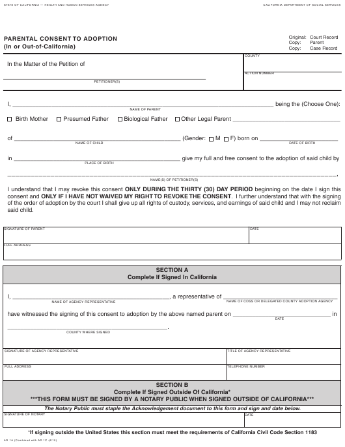 Form AD 1A Printable Pdf