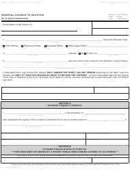 Form AD 1A Parental Consent to Adoption (In or out-Of-California) - California