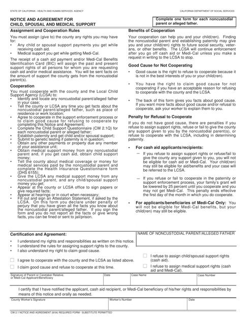Form CW2.1  Printable Pdf