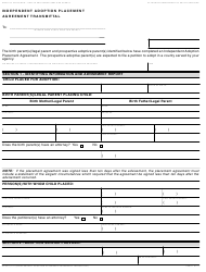 Form AD 930 Independent Adoption Placement Agreement Transmittal - California