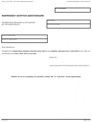 Form AD 9 Independent Adoption Questionnaire - California