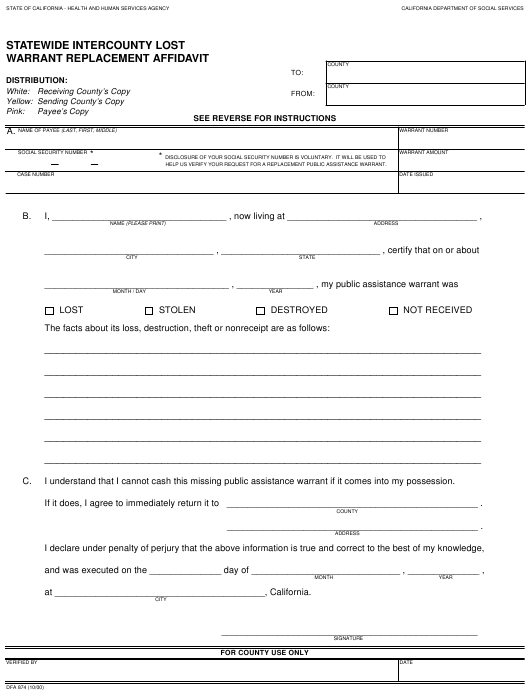 Form DFA 874 Download Fillable PDF, Statewide Intercounty