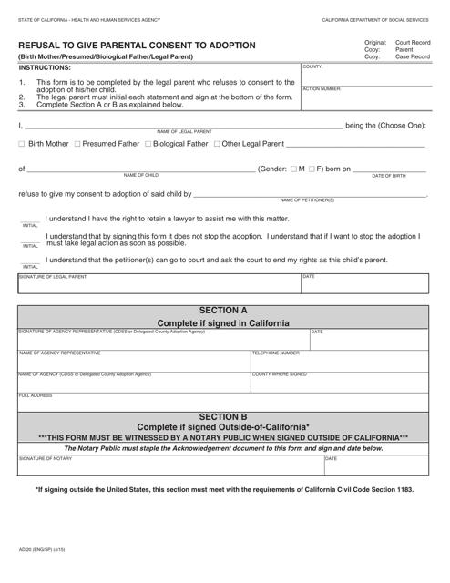 Form AD20  Printable Pdf