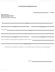 Form DPA 19 Authorized Representative - California