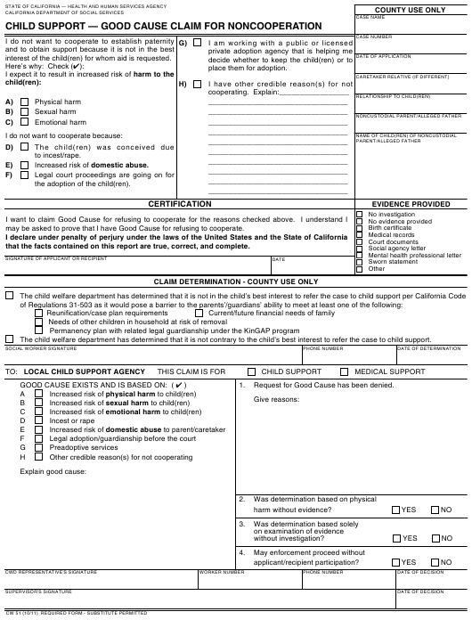Form CW 51 Download Fillable PDF, Child Support - Good Cause