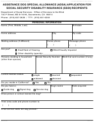 Form ADSA 1B Assistance Dog Special Allowance (adsa) Application For Social Security Disability Insurance (ssdi) Recipients - California