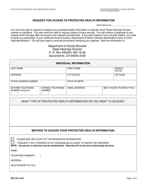 Form DPA487  Printable Pdf