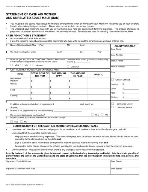 Form CW71  Printable Pdf