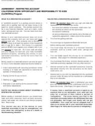 Form CW 86 Agreement - Restricted Account - California Work Opportunity and Responsibility to Kids (Calworks) Program - California