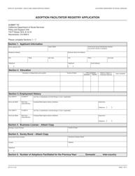 Form AD 70 Adoption Facilitator Registry Application - California