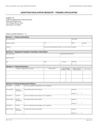 Form AD 71 Adoption Facilitator Registry - Trainee Application - California