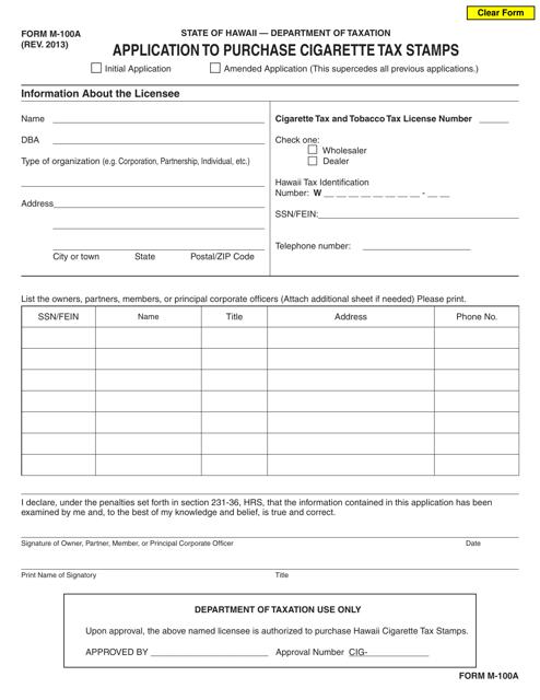 Form M-100A  Printable Pdf