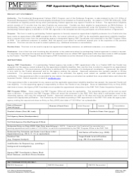 OPM Form 1305 Pmf Appointment Eligibility Extension Request Form