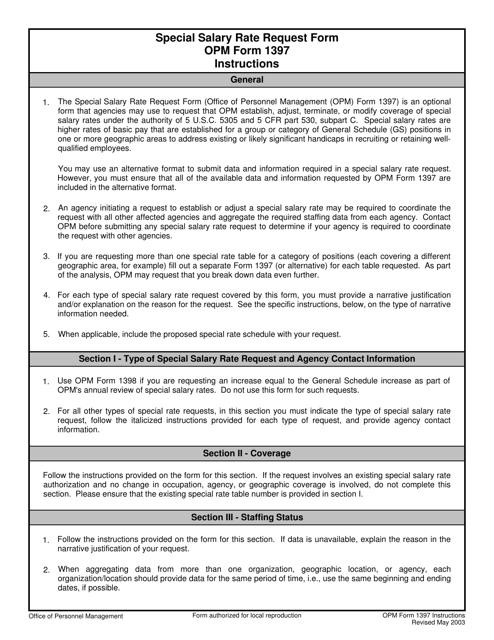OPM Form 1397 Printable Pdf