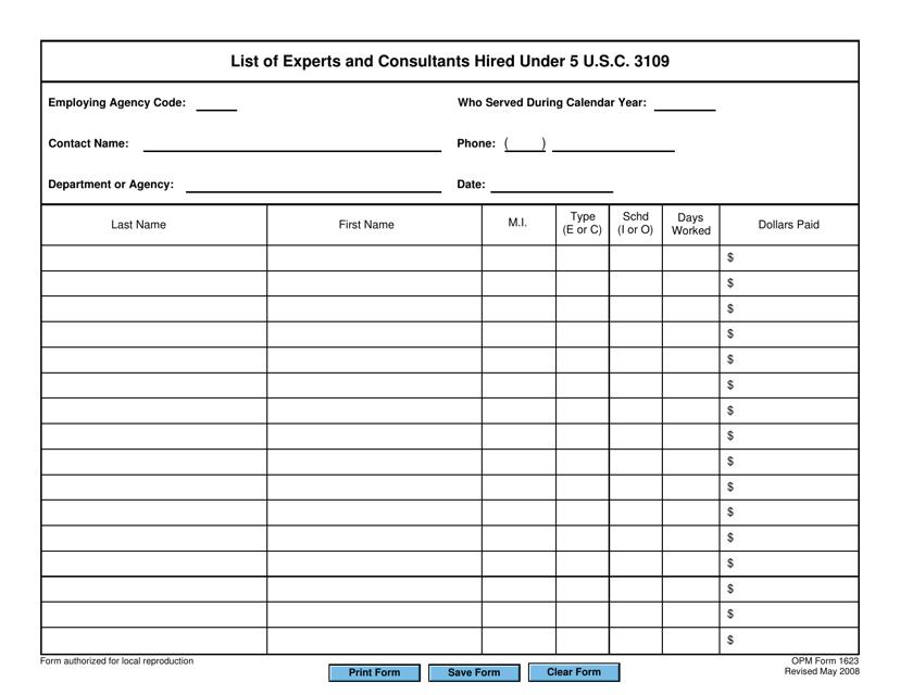 OPM Form 1623 Fillable Pdf