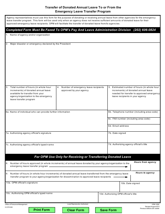 OPM Form 1639 Download Fillable PDF, Transfer of Donated