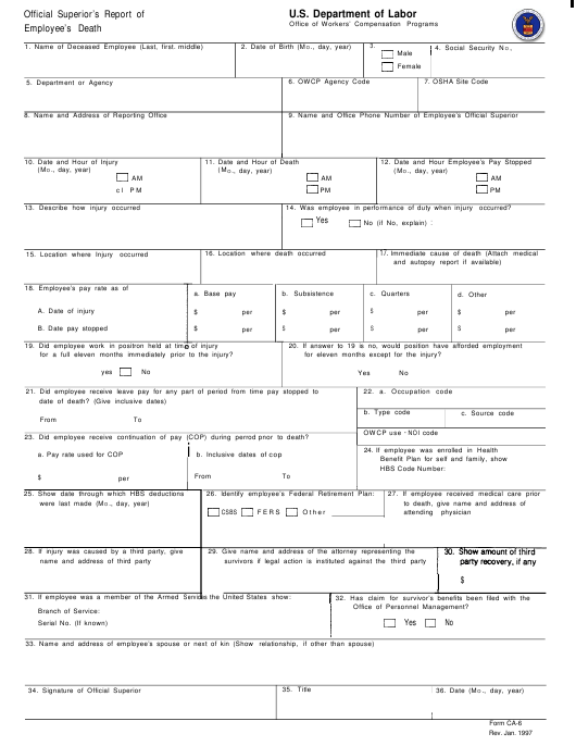 Form CA-6  Printable Pdf