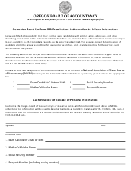 """Computer Based Uniform CPA Examination Authorization to Release Information"" - Oregon"