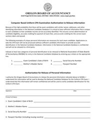 Computer Based Uniform Cpa Examination Authorization to Release Information - Oregon