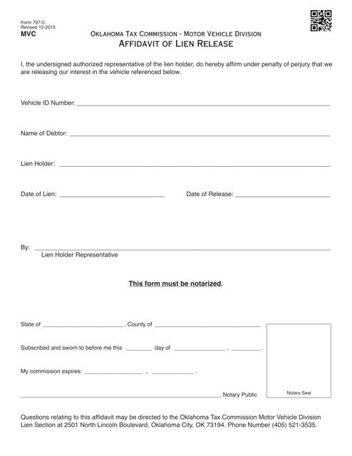 OTC Form 797-C Download Fillable PDF, Affidavit of Lien