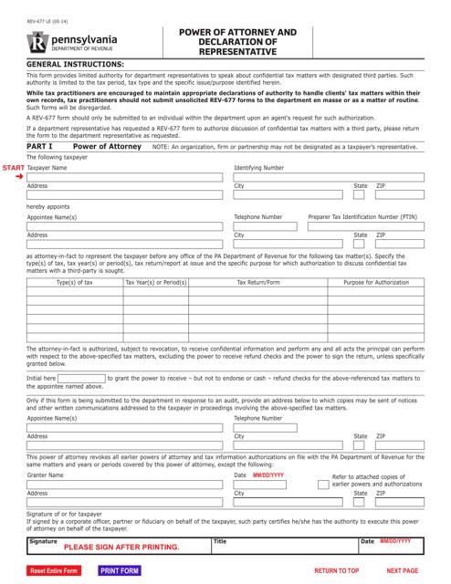 Form REV-677  Printable Pdf