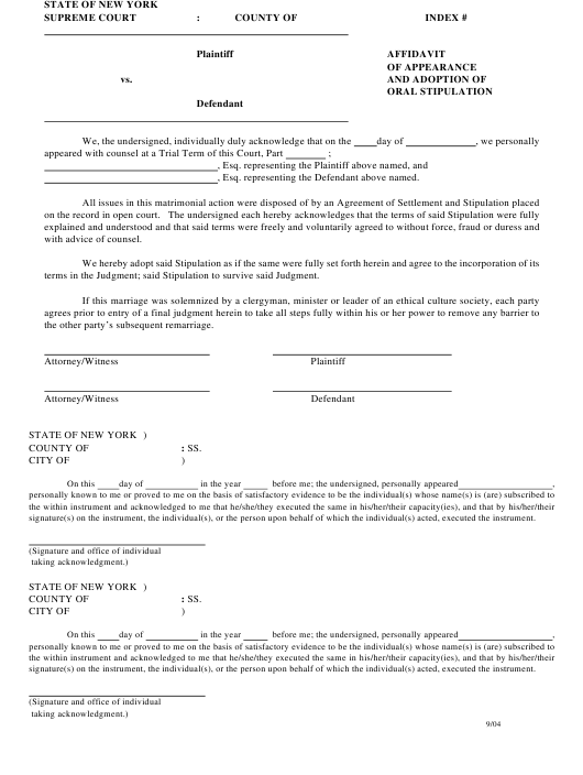Affidavit Of Appearance And Adoption Of Oral Stipulation New