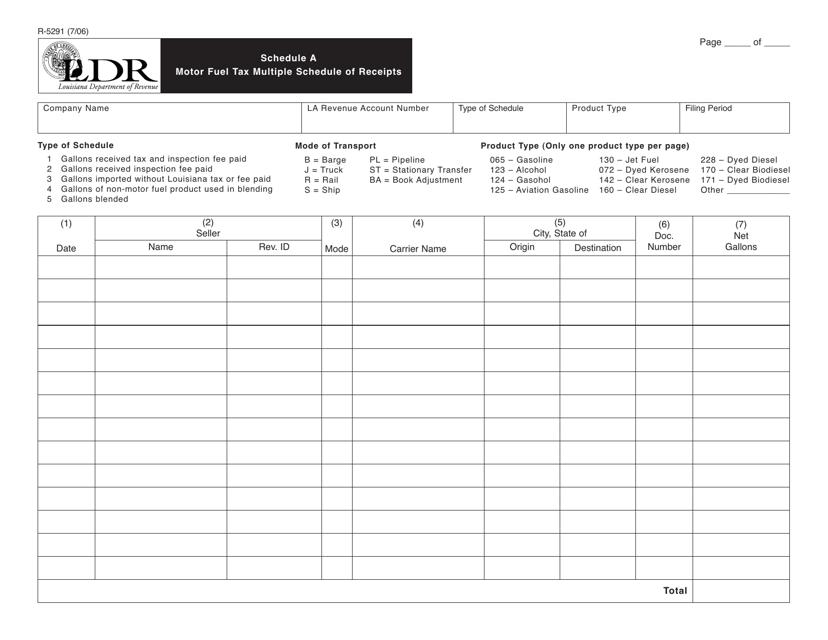 Form R-5291 Schedule A  Printable Pdf