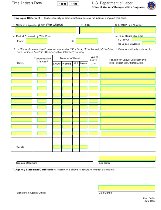 Form CA-7a Printable Pdf