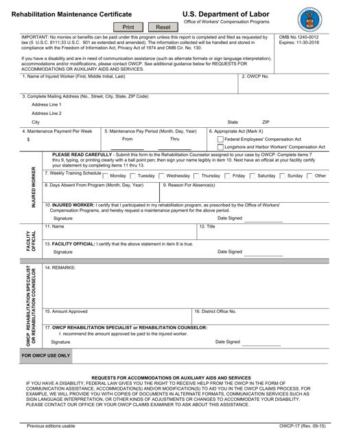 Form OWCP-17 Printable Pdf