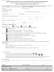 Form E/A-1 Application for Five-Year Exemption and/Or Abatement - New Jersey