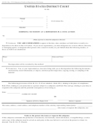 Form AO 88A Subpoena To Testify At A Deposition In A Civil Action