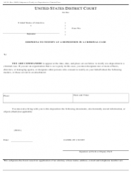 Form AO 90 Subpoena To Testify At A Deposition In A Criminal Case