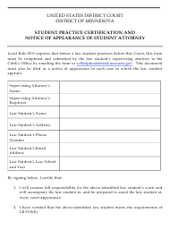 """Student Practice Certification and Notice of Appearance of Student Attorney"" - Minnesota"