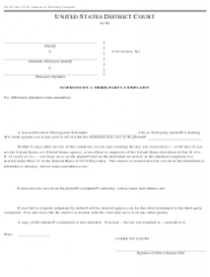 Form AO 441 Summons on a Third-Party Complaint