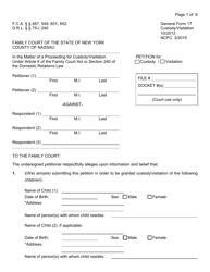 Form 17 Petition for Custody/Visitation - New York