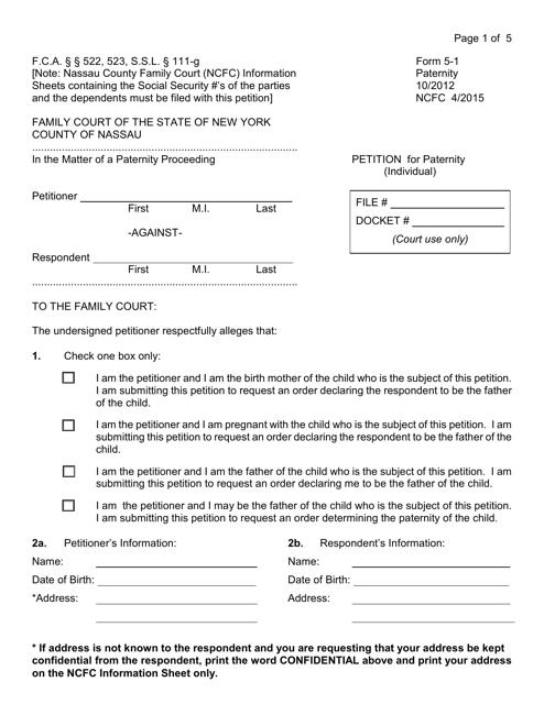 Form 5-1  Printable Pdf