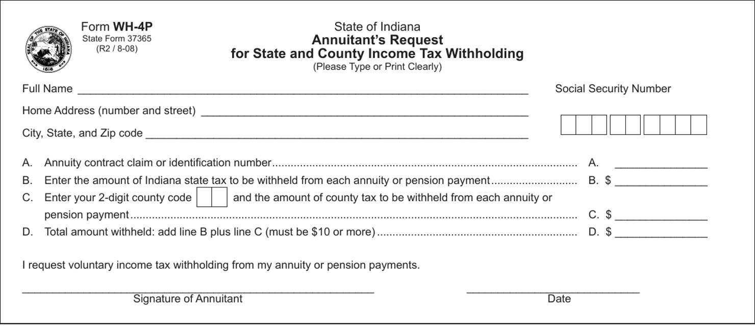 State Form 37365 (WH-4P)  Printable Pdf