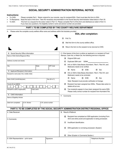 Form MC 194 Fillable Pdf
