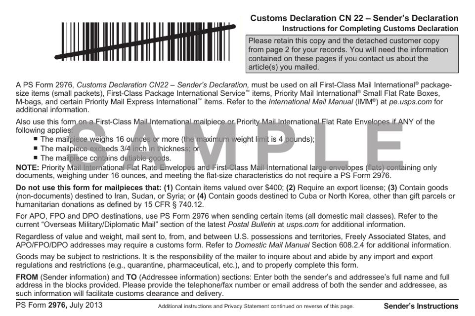 PS Form 2976 Printable Pdf