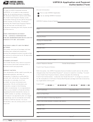 "PS Form 5639 ""Uspsca Application and Payment Authorization Form"""