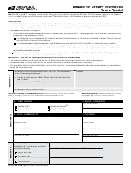 PS Form 3811-A Request for Delivery Information/ Return Receipt