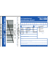 Sample PS Form 3813-P Insured Mail Receipt - Domestic Only - Over $500
