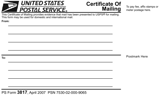 mailing certificate form 3817 ps pdf printable template templateroller