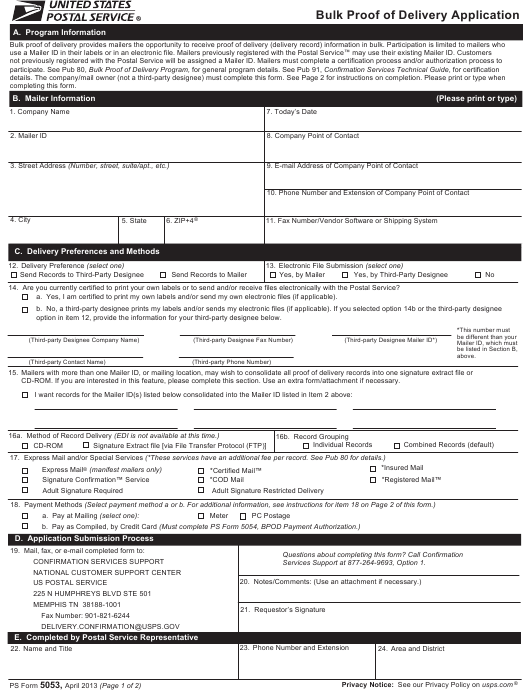 Ps Form 5053 Download Printable Pdf Bulk Proof Of Delivery